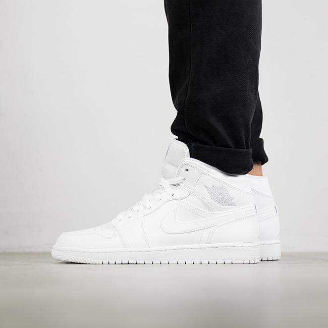 Herren Schuhe sneakers Air Jordan 1 Mid 554724 104 | WEIβ