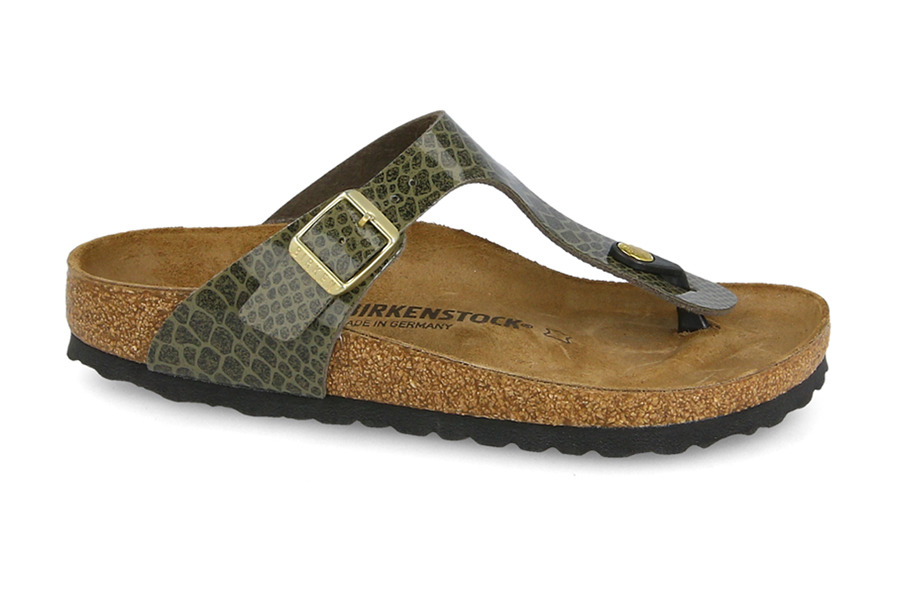 Pantoffeln Birkenstock Gizeh Snake Khaki 1011775 | GRÜN