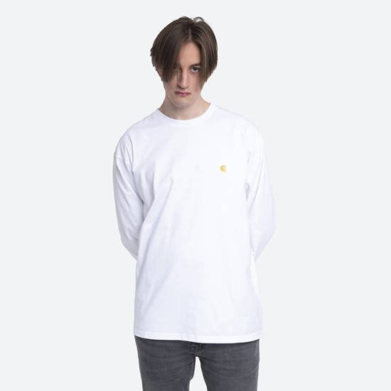 Carhartt WIP Long Sleeve Chase I026392 White/Gold